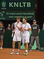 14-sept.-2013,Netherlands, Groningen,  Martini Plaza, Tennis, DavisCup Netherlands-Austria, Doubles,   Jean-Julien Rojer (R) and Robin Haase(NED)<br /> Photo: Henk Koster