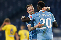 Lazio s Felipe Caicedo, right, celebrates with his teammate Manuel Lazzari after scoring during the Serie A soccer match between Lazio and Hellas Verona at Rome's Olympic Stadium, December 12, 2020.<br /> UPDATE IMAGES PRESS/Riccardo De Luca