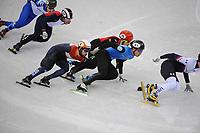 OLYMPIC GAMES: PYEONGCHANG: 10-02-2018, Gangneung Ice Arena, Short Track, Heats 1500m Men, Thibaut Fauconnet (CAN), Sjinkie Knegt (NED), Hongzhi Xu (CHN), Nurbergen Zhumagaziyev (KAZ), ©photo Martin de Jong