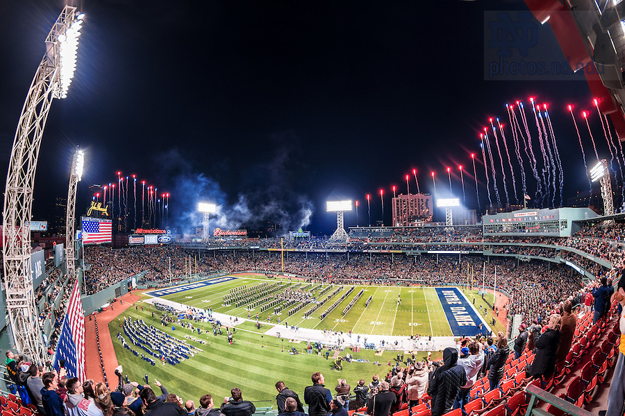 Nov. 21, 2015; Fireworks during the National Anthem at the Shamrock Series game at Fenway Park. (Photo by Matt Cashore)