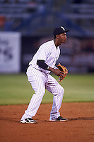 Tampa Yankees shortstop Jorge Mateo (14) during a game against the Lakeland Flying Tigers on April 8, 2016 at George M. Steinbrenner Field in Tampa, Florida.  Tampa defeated Lakeland 7-1.  (Mike Janes/Four Seam Images)
