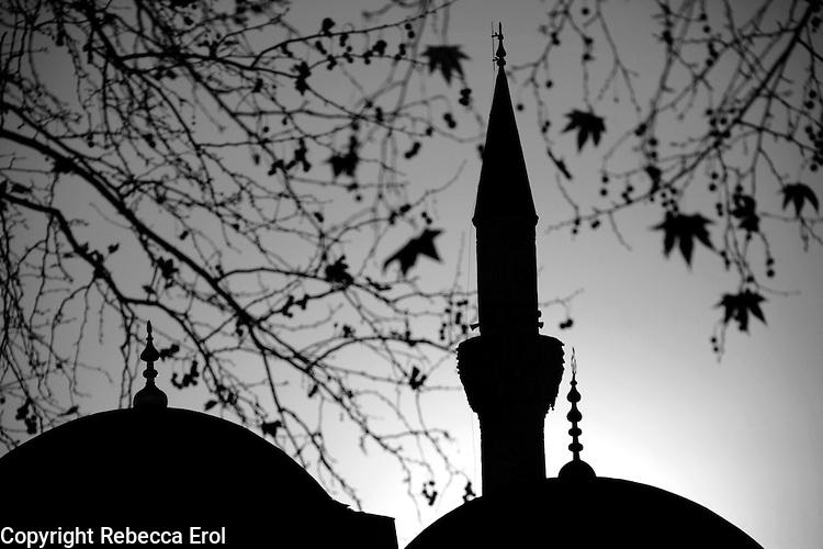 Minaret and dome in the autumn, Turkey