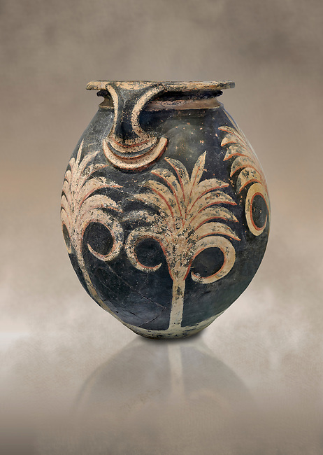 Minoan clay vase with floral design, Speial Palatial Tradition , Knossos Palace 1500-1450 BC BC, Heraklion Archaeological  Museum.