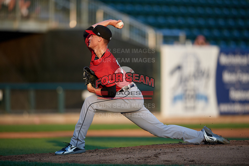Erie SeaWolves starting pitcher Matt Manning (32) delivers a pitch during a game against the Harrisburg Senators on August 29, 2018 at FNB Field in Harrisburg, Pennsylvania.  Harrisburg defeated Erie 5-4.  (Mike Janes/Four Seam Images)