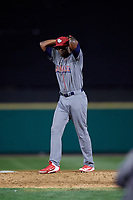 Lehigh Valley IronPigs relief pitcher Edgar Garcia (37) gets ready to deliver a pitch during a game against the Rochester Red Wings on September 1, 2018 at Frontier Field in Rochester, New York.  Lehigh Valley defeated Rochester 2-1.  (Mike Janes/Four Seam Images)