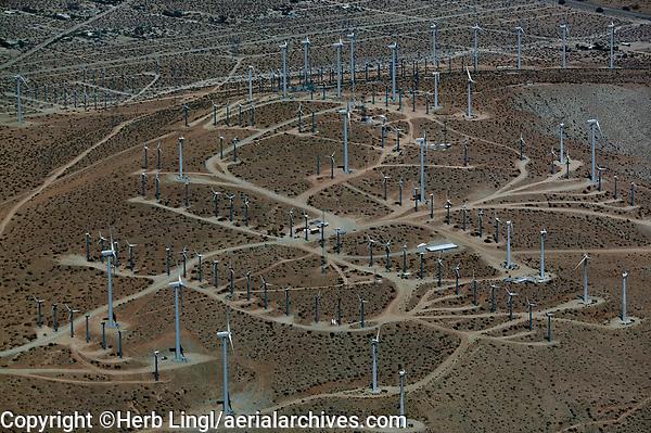 aerial photograph of the San Gregorio Pass wind farm, Riverside County, California