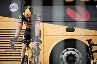 Mike Teunissen (NED/Jumbo-Visma) on the turbo pre-race<br /> <br /> Stage 2 from Perros-Guirec to Mûr-de-Bretagne, Guerlédan (184km)<br /> 108th Tour de France 2021 (2.UWT)<br /> <br /> ©kramon