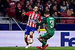 Juan Francisco Torres Belen, Juanfran (L), of Atletico de Madrid fights for the ball with Maciej Rybus of FC Lokomotiv Moscow during the UEFA Europa League 2017-18 Round of 16 (1st leg) match between Atletico de Madrid and FC Lokomotiv Moscow at Wanda Metropolitano  on March 08 2018 in Madrid, Spain. Photo by Diego Souto / Power Sport Images