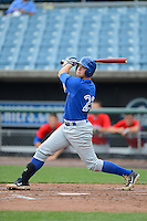 Braxton Davidson (23) of T.C. Roberson High School in Asheville, North Carolina playing for the Toronto Blue Jays scout team during the East Coast Pro Showcase on August 1, 2013 at NBT Bank Stadium in Syracuse, New York.  (Mike Janes/Four Seam Images)