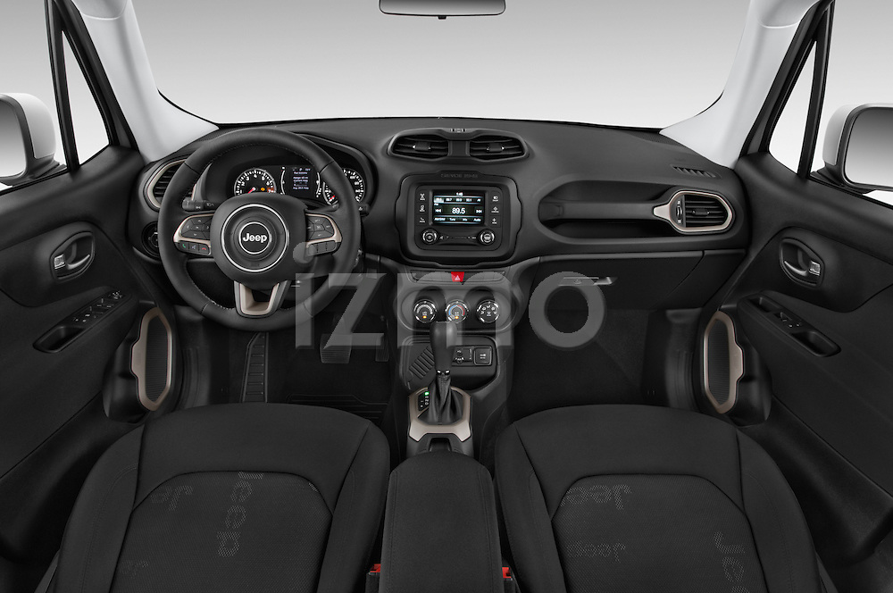 Stock photo of straight dashboard view of a 2015 JEEP Renegade Latitude Door Sport Utility Vehicle Dashboard