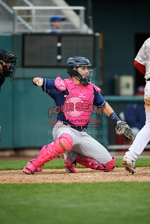 New Hampshire Fisher Cats catcher Max Pentecost (7) throws back to the pitcher during the second game of a doubleheader against the Harrisburg Senators on May 13, 2018 at FNB Field in Harrisburg, Pennsylvania.  Harrisburg defeated New Hampshire 2-1.  (Mike Janes/Four Seam Images)