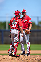 Washington Nationals pitcher Bryan Dobzanski (55) talks with catcher Alex Dunlap (27) during a Minor League Spring Training game against the Houston Astros on April 27, 2021 at FITTEAM Ballpark of the Palm Beaches in Palm Beach, Fla.  (Mike Janes/Four Seam Images)