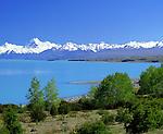 New Zealand, South Island, Lake Pukaki: Lake and Mount Cook with Snow | Neuseeland, Suedinsel, Lake Pukaki: See vorm schneebedeckten Mount Cook