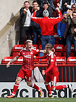 Johnny Hayes celebrates his goal for Aberdeen