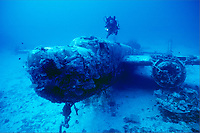 diver and B-25 bomber, Roi Namur, Kwajalein Atoll, Marshall Islands, Micronesia, Pacific Ocean