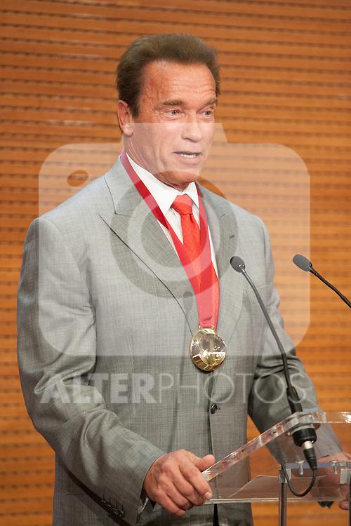 Austrian former actor and politician Arnold Schwarzenegger receives the `Madrid Destino´ ambassador medal at Cibeles Palace in Madrid, Spain. September 26, 2014. (ALTERPHOTOS/Victor Blanco)