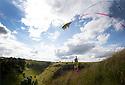 20/07/15<br /> <br /> Freya Kirkpatrick (7) flies a kite in the sunshine above Lathkill Dale in the Derbyshire Peak District.<br /> <br /> All Rights Reserved: F Stop Press Ltd. +44(0)1335 418629   www.fstoppress.com.