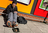 High Wycombe, England 20/04/2020 -<br /> Homeless sit in the Town Centre of High Wycombe during the COVID-19 pandemic lockdown as the UK Government advice to maintain social distancing and minimise time outside in High Wycombe on 20 April 2020. Photo by PRiME Media Images / Andy Rowland.