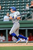 Second baseman Corey Toups (2) of the Lexington Legends bats in a game against the Greenville Drive on Tuesday, April 14, 2015, at Fluor Field at the West End in Greenville, South Carolina. Lexington won, 5-3. (Tom Priddy/Four Seam Images)
