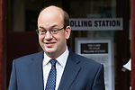 © Joel Goodman - 07973 332324 . 20/11/2014 . Kent , UK . UKIP candidate MARK RECKLESS , leaving a polling station at Baptists Church Institute on Crow Lane , Rochester , after casting his vote . The Rochester and Strood by-election campaign following the defection of sitting MP Mark Reckless from Conservative to UKIP . Photo credit : Joel Goodman