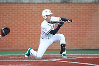 Hunter Jones (33) of the Charlotte 49ers squares to bunt against the Arkansas Razorbacks at Hayes Stadium on March 21, 2018 in Charlotte, North Carolina.  The 49ers defeated the Razorbacks 6-3.  (Brian Westerholt/Four Seam Images)