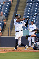 Tampa Tarpons outfielder Juan De Leon (27) bats during a game against the Lakeland Flying Tigers on July 15, 2021 at George M. Steinbrenner Field in Tampa, Florida.  (Mike Janes/Four Seam Images)
