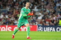 14th September 2021: Nou Camp, Barcelona, Spain: ECL Champions League football, FC Barcelona versus Bayern Munich: Neuer celebrating his team goal for 0-1 in minute 34 from Muller