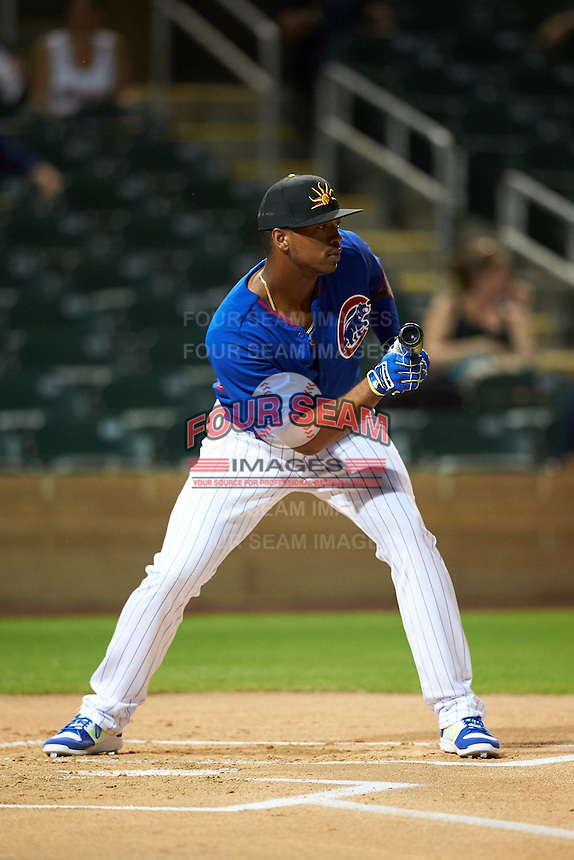 Mesa Solar Sox Eloy Jimenez (27), of the Chicago Cubs organization, during the Bowman Hitting Challenge on October 8, 2016 at the Salt River Fields at Talking Stick in Scottsdale, Arizona.  (Mike Janes/Four Seam Images)