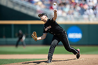 Louisville Cardinals pitcher Reid Detmers (42) delivers a pitch to the plate during Game 3 of the NCAA College World Series against the Vanderbilt Commodores on June 16, 2019 at TD Ameritrade Park in Omaha, Nebraska. Vanderbilt defeated Louisville 3-1. (Andrew Woolley/Four Seam Images)