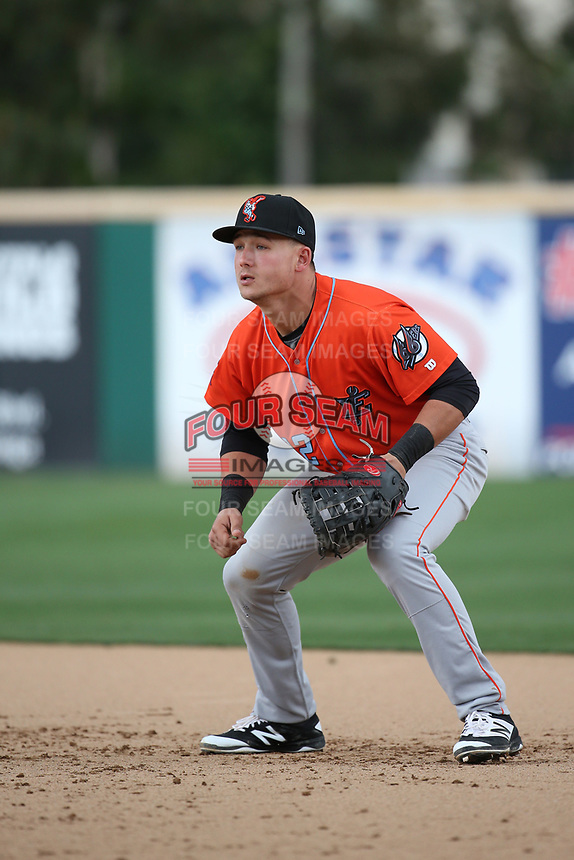Matt Thaiss (12) of the Inland Empire 66ers in the field at first base during a game against the Rancho Cucamonga Quakes at LoanMart Field on May 7, 2017 in Rancho Cucamonga, California. Rancho Cucamonga defeated Inland Empire, 6-0. (Larry Goren/Four Seam Images)