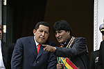 ©PATRICIO CROOKER<br /> La Paz, Bolivia<br /> A picture dated January 22, 2006 shows Bolivian President Evo Morales and Venezuelan Presidente Hugo Chavez during the inaguration of Evo Morales at the balcony of the Government Palace.