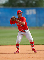 Doral Academy Firebirds shortstop Andre Vidal (9) during the IMG National Classic on March 29, 2021 at IMG Academy in Bradenton, Florida.  (Mike Janes/Four Seam Images)
