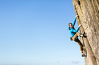 Leo Houlding climbs gritstone classic - 'Not to be Taken Away' f6C, Stanage Plantation, Peak District, United Kingdom