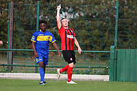 Sam Bantick of Coggeshall scores his second goal and celebrates during Romford vs Coggeshall Town, Bostik League Division 1 North Football at Rookery Hill on 13th October 2018
