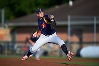 State College Spikes pitcher Greg Tomchick (27) delivers a pitch during a game against the Auburn Doubledays on July 6, 2015 at Falcon Park in Auburn, New York.  State College defeated Auburn 9-7.  (Mike Janes/Four Seam Images)