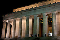 Tourists take photographs of the Lincoln Memorial at night in Washington, DC.In this temple, as in the hearts of the people for whom he saved the Union, the memory of Abraham Lincoln is enshrined forever.? Beneath these words, the 16th President of the United States?the Great Emancipator and preserver of the nation during the Civil War?sits immortalized in marble. As an enduring symbol of Freedom, the Lincoln Memorial attracts anyone who seeks inspiration and hope..