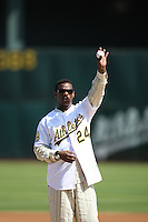 OAKLAND, CA - SEPTEMBER 21: Oakland Athletics former player Rickey Henderson participates in pre-game ceremonies on the field before the game against the Seattle Mariners at the McAfee Coliseum in Oakland, California on September 21, 2008.  The Athletics defeated the Mariners 5-3.  Photo by Brad Mangin