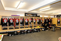 20130216 Copyright onEdition 2013©.Free for editorial use image, please credit: onEdition..General view of the players' changing room before the Premiership Rugby match between Saracens and Exeter Chiefs at Allianz Park on Saturday 16th February 2013 (Photo by Rob Munro)..For press contacts contact: Sam Feasey at brandRapport on M: +44 (0)7717 757114 E: SFeasey@brand-rapport.com..If you require a higher resolution image or you have any other onEdition photographic enquiries, please contact onEdition on 0845 900 2 900 or email info@onEdition.com.This image is copyright onEdition 2013©..This image has been supplied by onEdition and must be credited onEdition. The author is asserting his full Moral rights in relation to the publication of this image. Rights for onward transmission of any image or file is not granted or implied. Changing or deleting Copyright information is illegal as specified in the Copyright, Design and Patents Act 1988. If you are in any way unsure of your right to publish this image please contact onEdition on 0845 900 2 900 or email info@onEdition.com