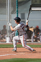 San Francisco Giants third baseman Shane Matheny (17) follows through on his swing during a Minor League Spring Training game against the Cleveland Indians at the San Francisco Giants Training Complex on March 14, 2018 in Scottsdale, Arizona. (Zachary Lucy/Four Seam Images)