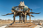 Bottlecap Gazebo by Max Poynton, Andrew Grinsberg and the Bottlecap Crew, one of Fearnley's roadside attractions along the old Lincoln Highway, Nevada.<br /> <br /> Made with recycled stuff and 75,000 bottle caps