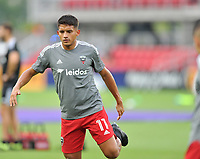WASHINGTON, DC - JULY 7: Yamil Asad #11 of D.C. United warming up during a game between Liga Deportiva Alajuense  and D.C. United at Audi Field on July 7, 2021 in Washington, DC.