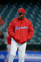 Louisville Bats manager Delino DeShields (90) during a game against the Columbus Clippers on May 1, 2017 at Louisville Slugger Field in Louisville, Kentucky.  Columbus defeated Louisville 6-1  (Mike Janes/Four Seam Images)