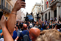 The Italian national team carries the UEFA Euro 2020 cup around Rome on an open bus, welcomed by thousands of supporters. The bus left from piazza Colonna and has reached Piazza Venezia.<br /> Rome (Italy), July 12th 2021<br /> Photo Samantha Zucchi Insidefoto