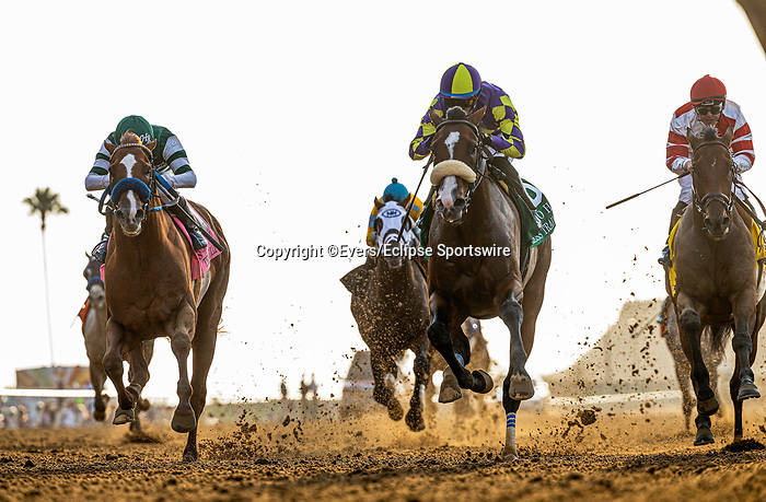 JULY 17, 2021: Juan Hernandez and Express Train win the San Diego Handicap at Del Mar Fairgrounds in Del Mar, California on July 17, 2021. Evers/Eclipse Sportswire/CSM