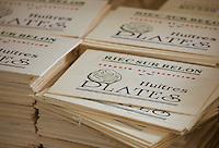 Europe/France/Bretagne/29/Finistère/Riec-sur-Belon: Huitres Cadoret - Détail emballage huitres plates de Bretagne