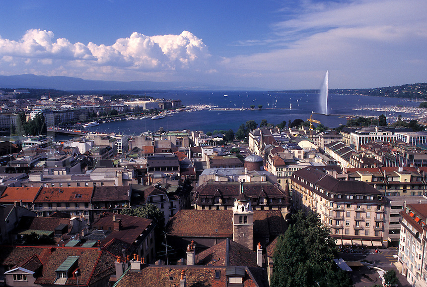 Geneva, Switzerland, Aerial view of the city of Geneva from St. Peter's cathedral (cathedrale St. Pierre).