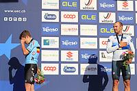12th September 2021: Trento, Trentino–Alto Adige, Italy: UEC Road European Mens Elite Cycling Championships; Remco EVENEPOEL (BEL) and race winner Sonny COLBRELLI (ITA)