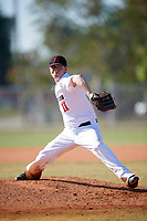 Haverford Fords starting pitcher Dylan Livingston (11) delivers a pitch during a game against the Wooster Fighting Scots on March 17, 2018 at Terry Park in Fort Myers, Florida.  Haverford defeated Wooster 1-0. (Mike Janes/Four Seam Images)