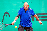 Hilversum, The Netherlands,  August 17, 2021,  Tulip Tennis Center, NKS, National Senior Tennis Championships, Men's 80+  Piet van der Pluym (NED)  <br /> Photo: Tennisimages/Henk Koster
