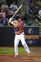 Aberdeen Ironbirds catcher Chris Shaw (58) at bat during a game against the Tri-City ValleyCats on August 6, 2015 at Ripken Stadium in Aberdeen, Maryland.  Tri-City defeated Aberdeen 5-0 in a combined no-hitter.  (Mike Janes/Four Seam Images)